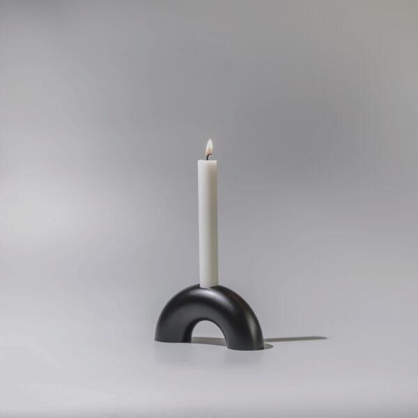 Monoista Kerzenstaender webversion sw 5 - MEDI minimalistischer Kerzenständer aus Metall schwarz